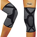 HOFAM Knee Brace Compression, Breathable Knee Sleeve for Running Jogging Basketball Workout Sports - For Men and Women - Relieves ACL LCL MCL - Single