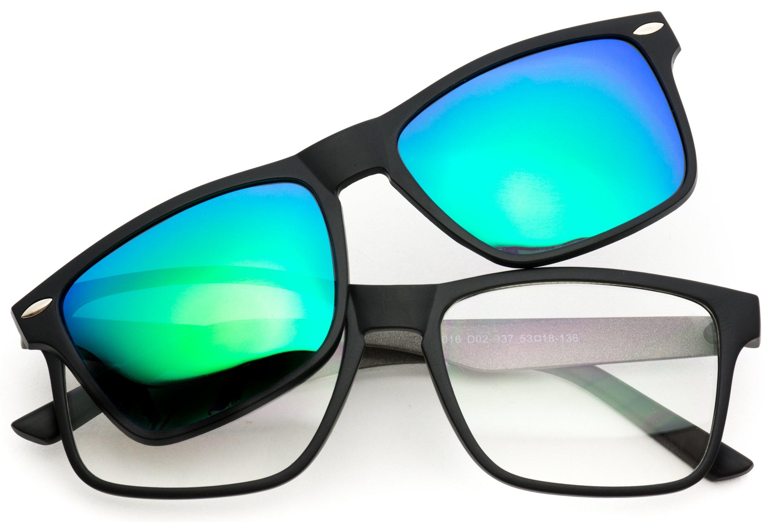 WearMe Pro - Polarized Lens Magnetic Clip-On Square Rectangular Metal Frame Prescription Glasses by WearMe Pro