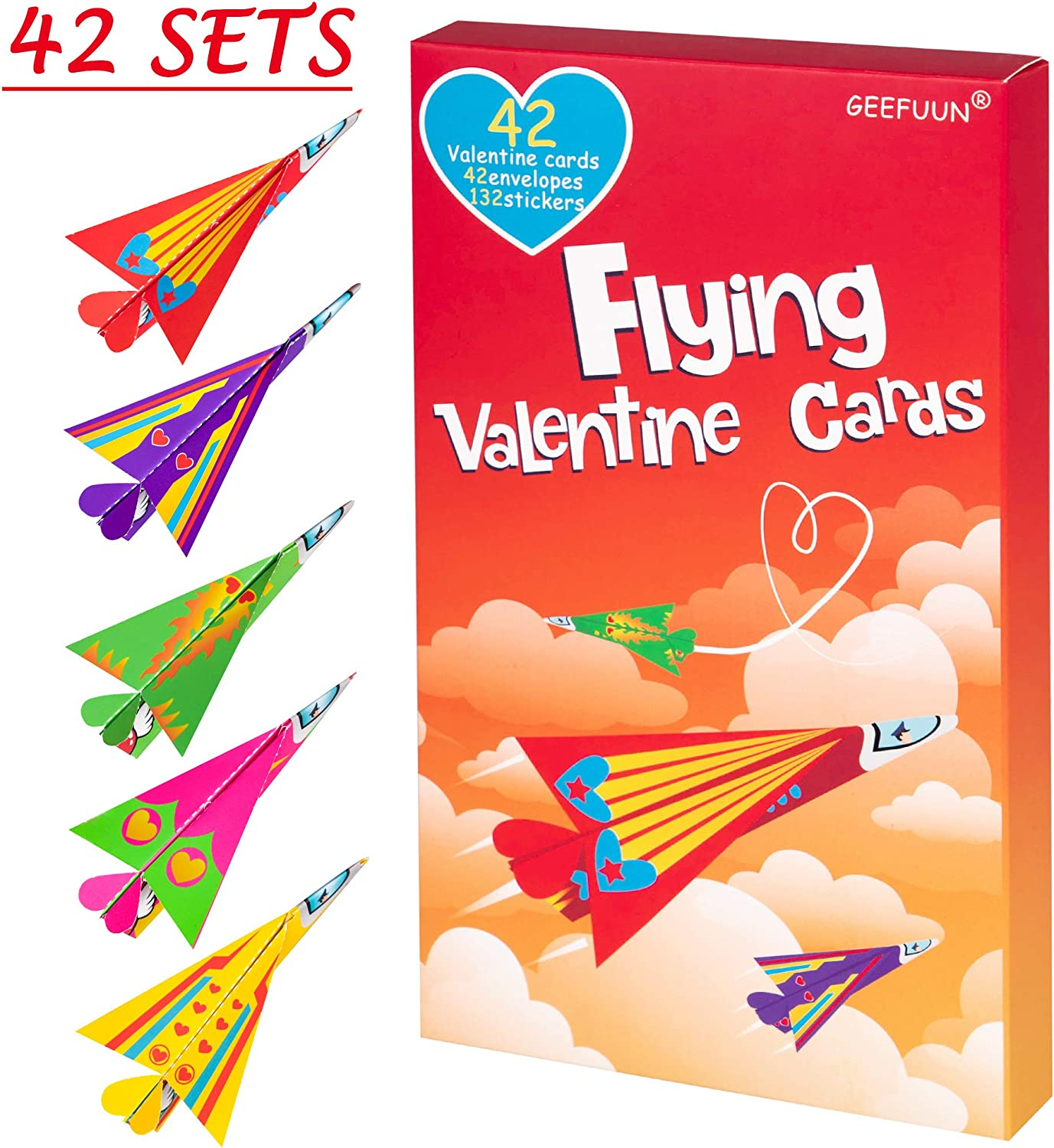 42 Envelopes 42 Paper Airplane Cards 132 Stickers Heart Crafts School Classroom Exchange Party Gift Favor Geefuun Valentines Day Cards for Kids