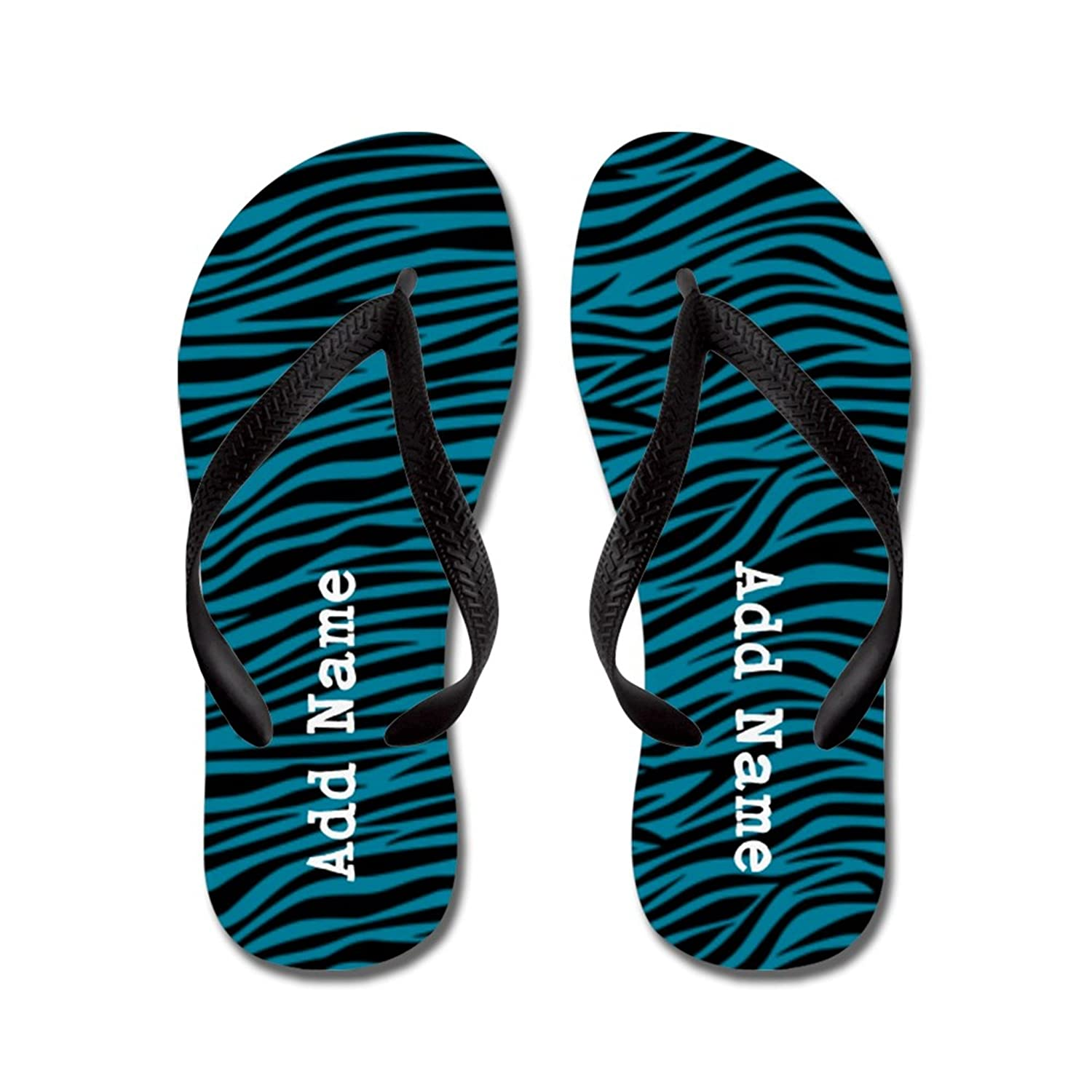 Lplpol Personalizable Customized Zebra Stripes Teal Flip Flops for Kids and Adult Unisex Beach Sandals Pool Shoes Party Slippers