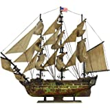 "Davyarts Nautical Decor Wooden Ship Models USS Constitution Tall Model Ship, 30""-Antique Rusty Green"
