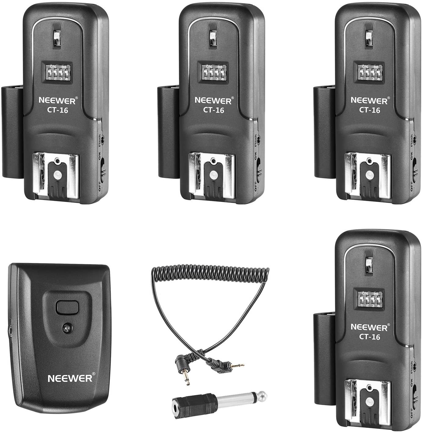 Neewer 16 Canal Inalámbricos Radio Set de Disparador de flash Speedlite,Incluyendo (1)Transmisor(4)Receptores Ajuste para Canon Nikon Pentax Olympus Panasonic DSLR Cámaras (CT-16)