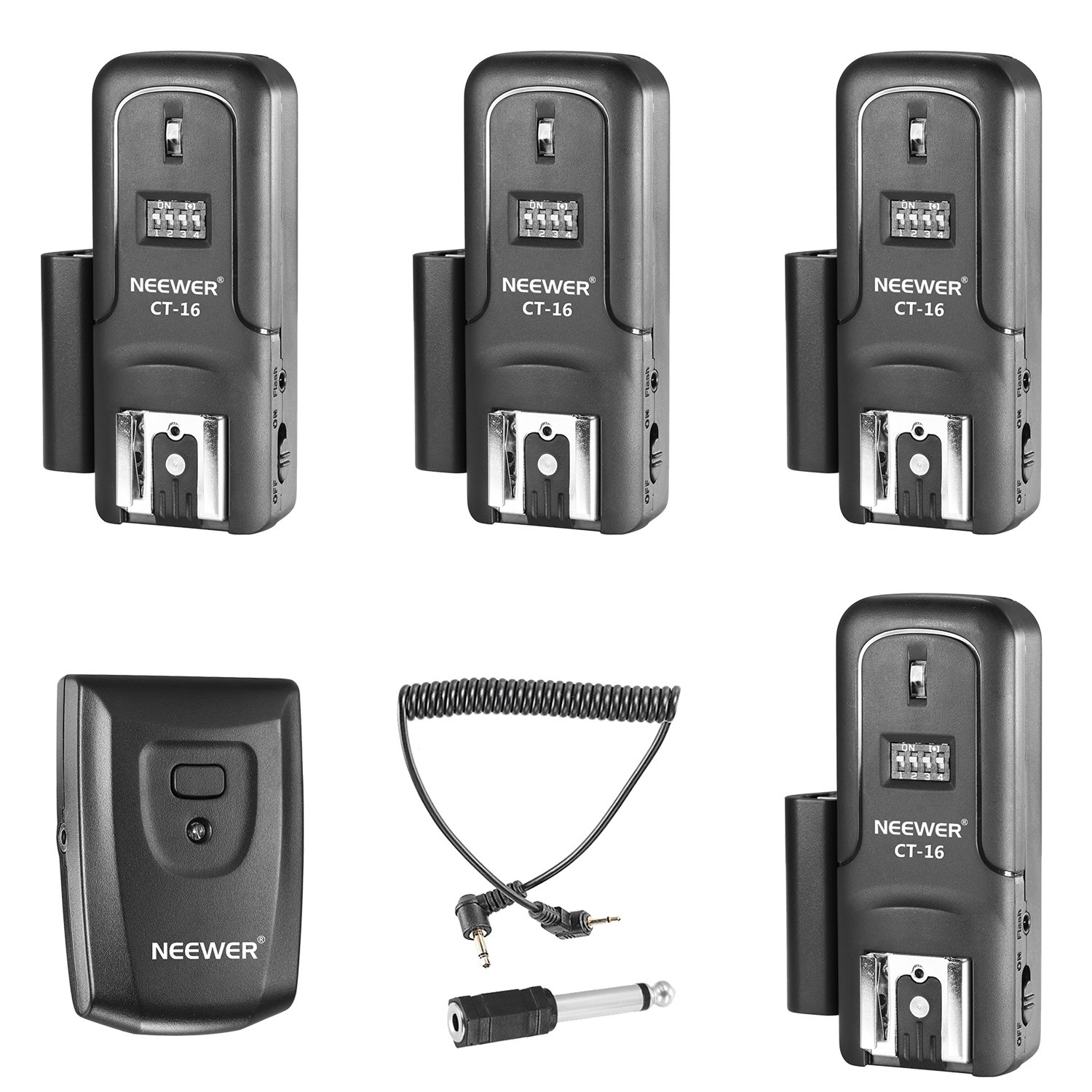Neewer 16 Channels Wireless Radio Flash Speedlite Studio Trigger Set, Including (1) Transmitter and (4) Receivers, Fit for Canon Nikon Pentax Olympus Panasonic DSLR Cameras (CT-16) by Neewer