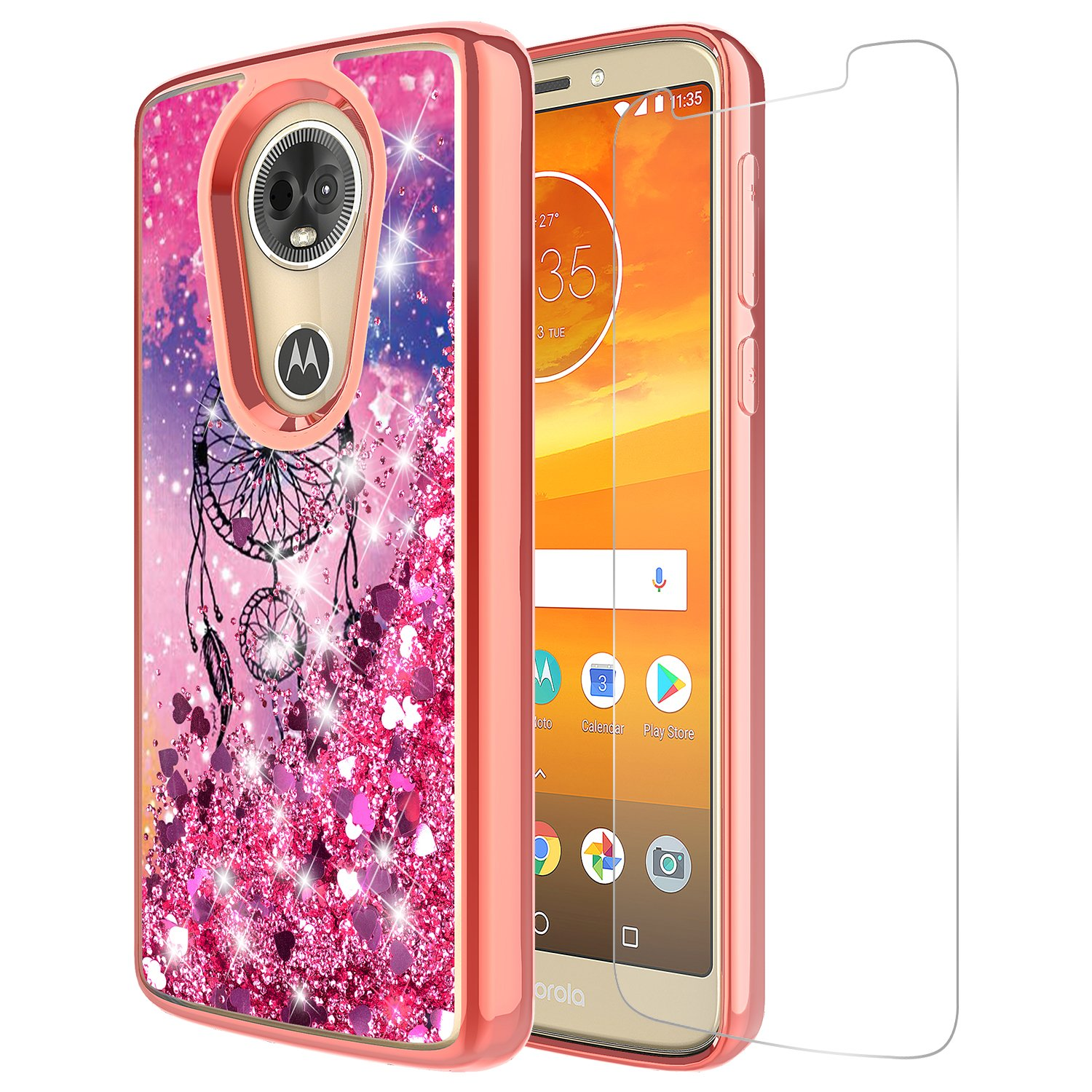 Moto G6 Play Case, Moto G6 Forge Case With Tempered Glass Screen Protector Cute Sparkly Quicksand for Teen Girls Women Soft Clear TPU Bumper Cover For Motorola Moto E5 (Dream Catcher)