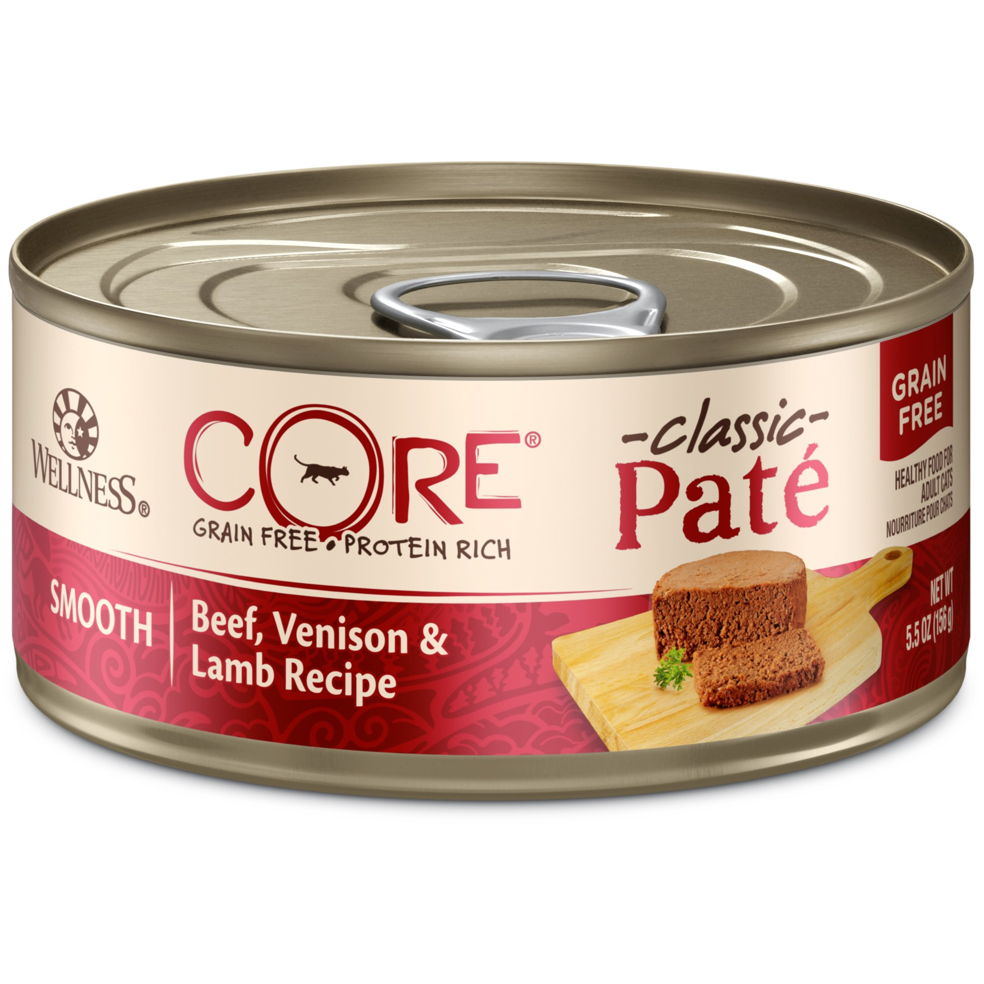 Wellness Core Natural Grain Free Wet Canned Cat Food, Beef, Venison & Lamb, 5.5-Ounce Can (Pack Of 24) by WELLNESS CORE