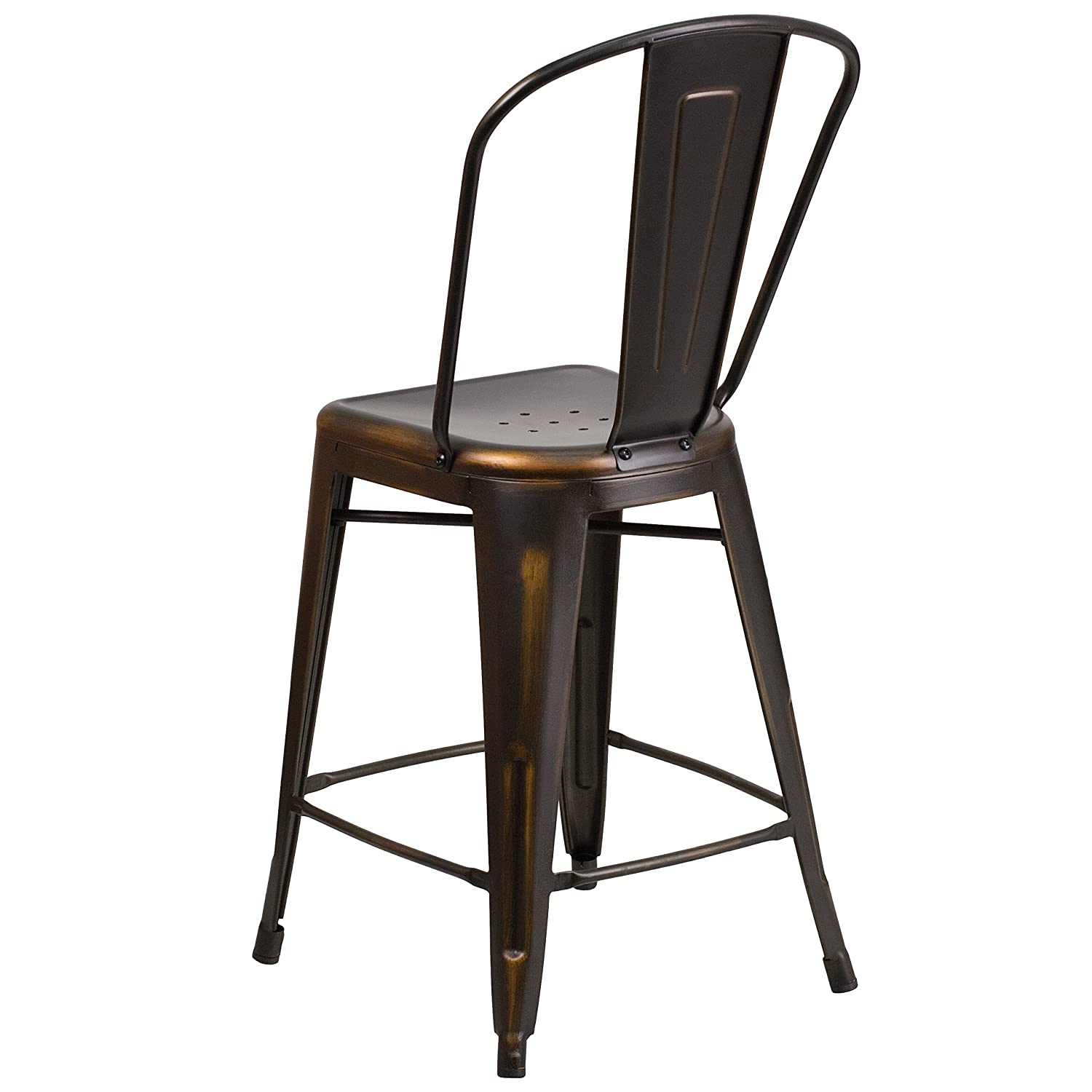 metal counter height stools. Amazon.com: Flash Furniture 24\u0027\u0027 High Distressed Copper Metal Indoor-Outdoor Counter Height Stool With Back: Kitchen \u0026 Dining Stools I