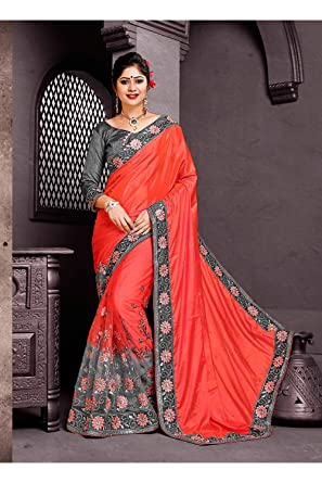419410a576 Amazon.com: Indian Women Designer Party wear Red Saree Sari: Clothing