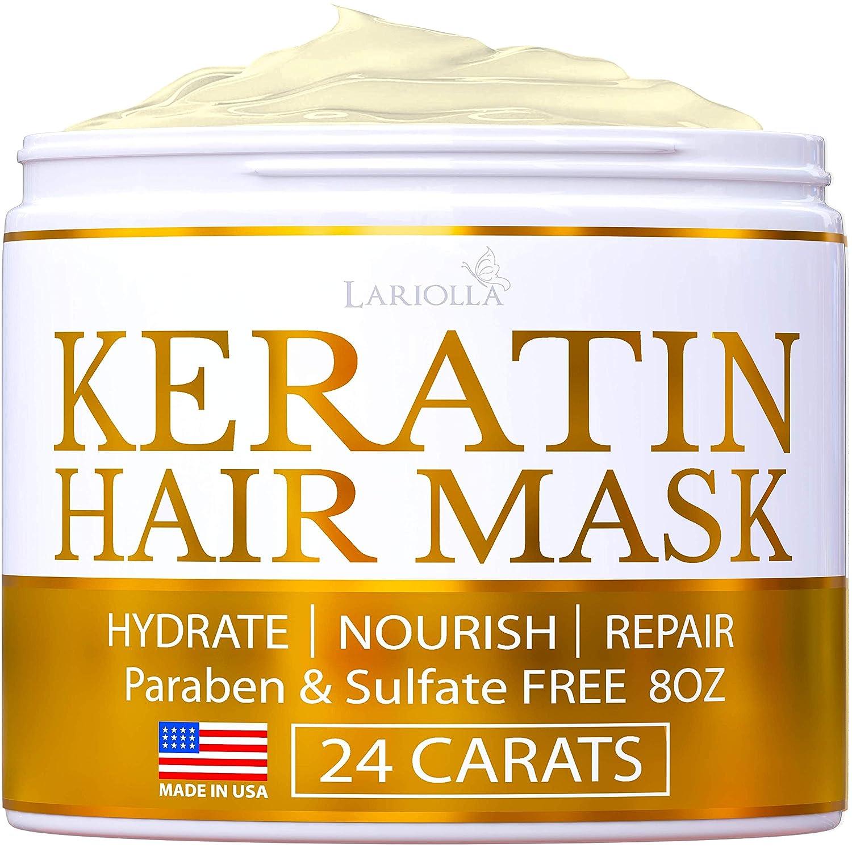 Keratin Hair Mask - Repairs Dry & Damaged Hair - Professional Keratin Hair Treatment with Avocado Oil - Aloe Vera - Vitamin E - Made in USA - Effective Keratin Complex - Anti Frizz