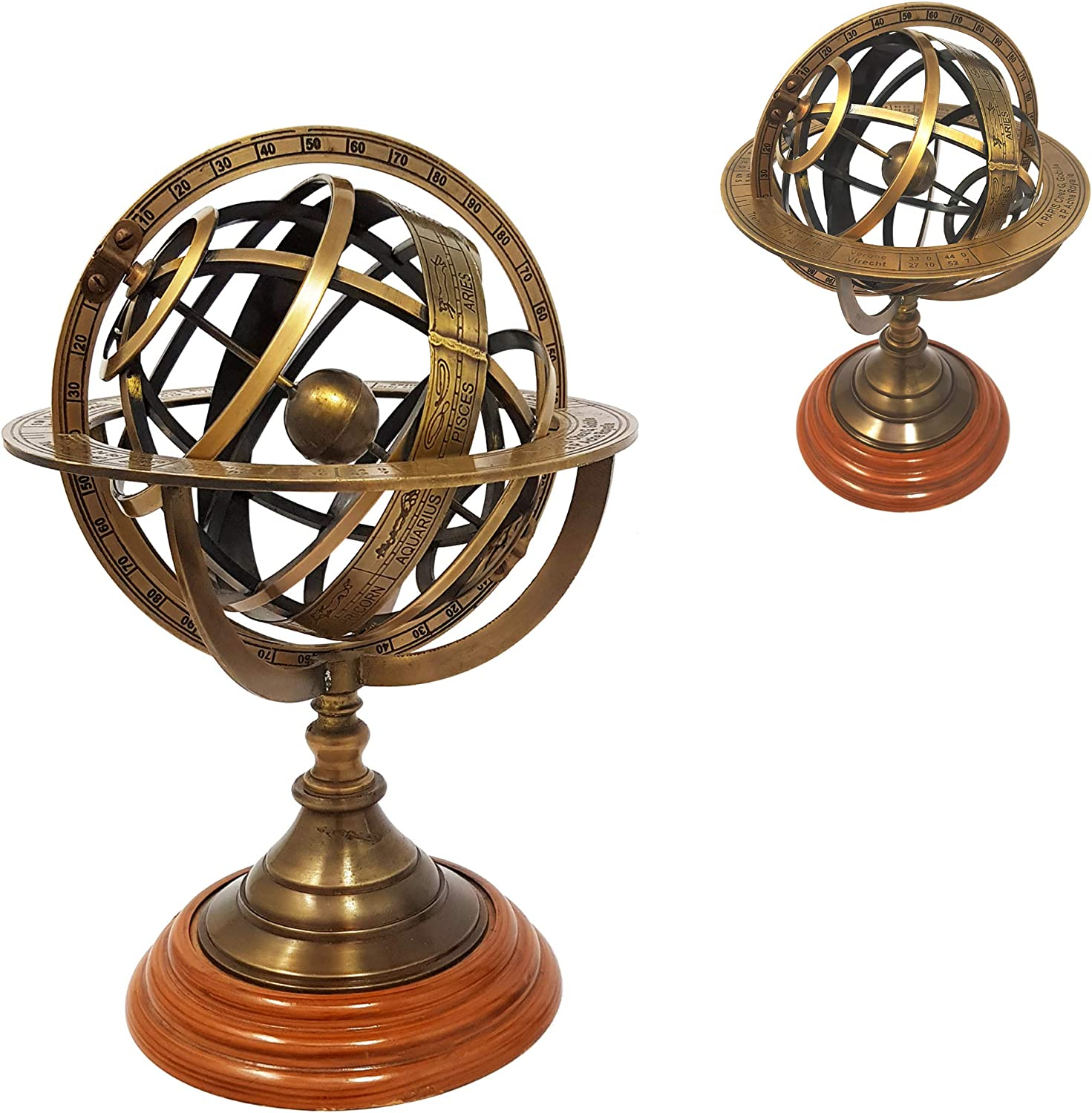 Brass Nautical - 8 inches Tall Antique Armillary Sphere Globe Replica Gift; Vintage Table Décor and Gift