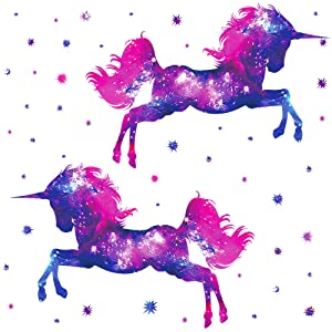 RW-D80 Dream Galaxy Purple Unicorn Wall Decals Removable Unicorn Wall Stickers with Glowing Stars Peel and Sticks Wall Art Decor for Kids Boys Girls Bedroom Nursery Bedroom Party Home Decoration (All)