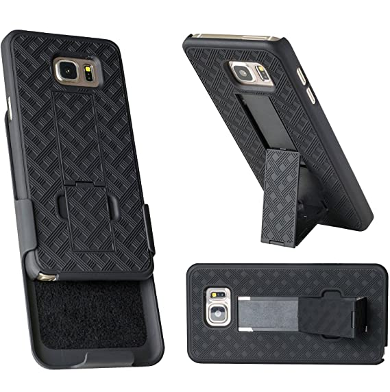 online store b42e6 0e7e6 Note 5 Holster, WizGear Shell Holster Combo Case for Samsung Galaxy Note 5  with Kick-Stand & Belt Clip - Fits at&t, Verizon, T-Mobile & Sprint - Black