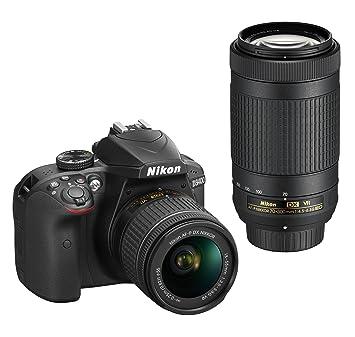 Nikon D3400 + AF-P 18-55mm VR+AF-P 70-300mm VR + 8GB SD Juego de cámara SLR 24.2MP CMOS 6000 x 4000Pixeles Negro - Cámara Digital (24,2 MP, 6000 x 4000 Pixeles, CMOS, Full HD, 445 g, Negro)