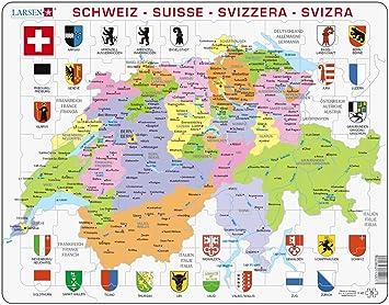 Larsen K43 Marco Puzzle Suiza - Político Tarjeta 70 Piezas ...
