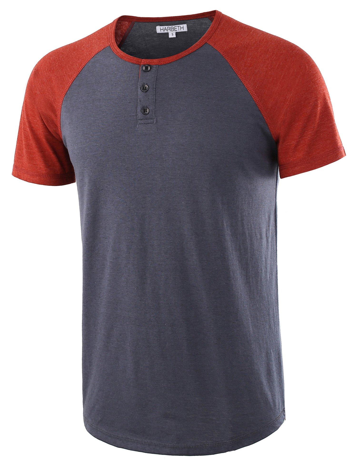 HARBETH Men's Casual Short Sleeve Henley Shirt Raglan Fit Baseball T-Shirts Tee Cadet Blue/Rusty L by HARBETH