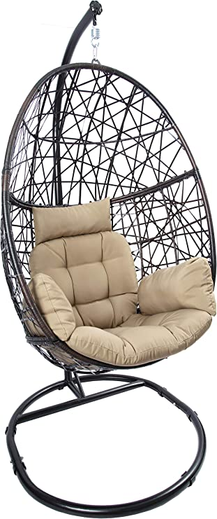 Amazon Com Luckyberry Egg Chair Outdoor Indoor Wicker Tear Drop Hanging Chair With Stand Kitchen Dining