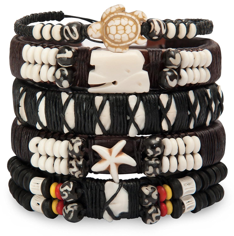 Sun Lifestyle Lot de Bracelets en Cuir pour Homme Femme-Tressé Hippie Poignet Wraps-natif Hill Tribe Poignets, Réglable Sun Lifestyle métal SL385
