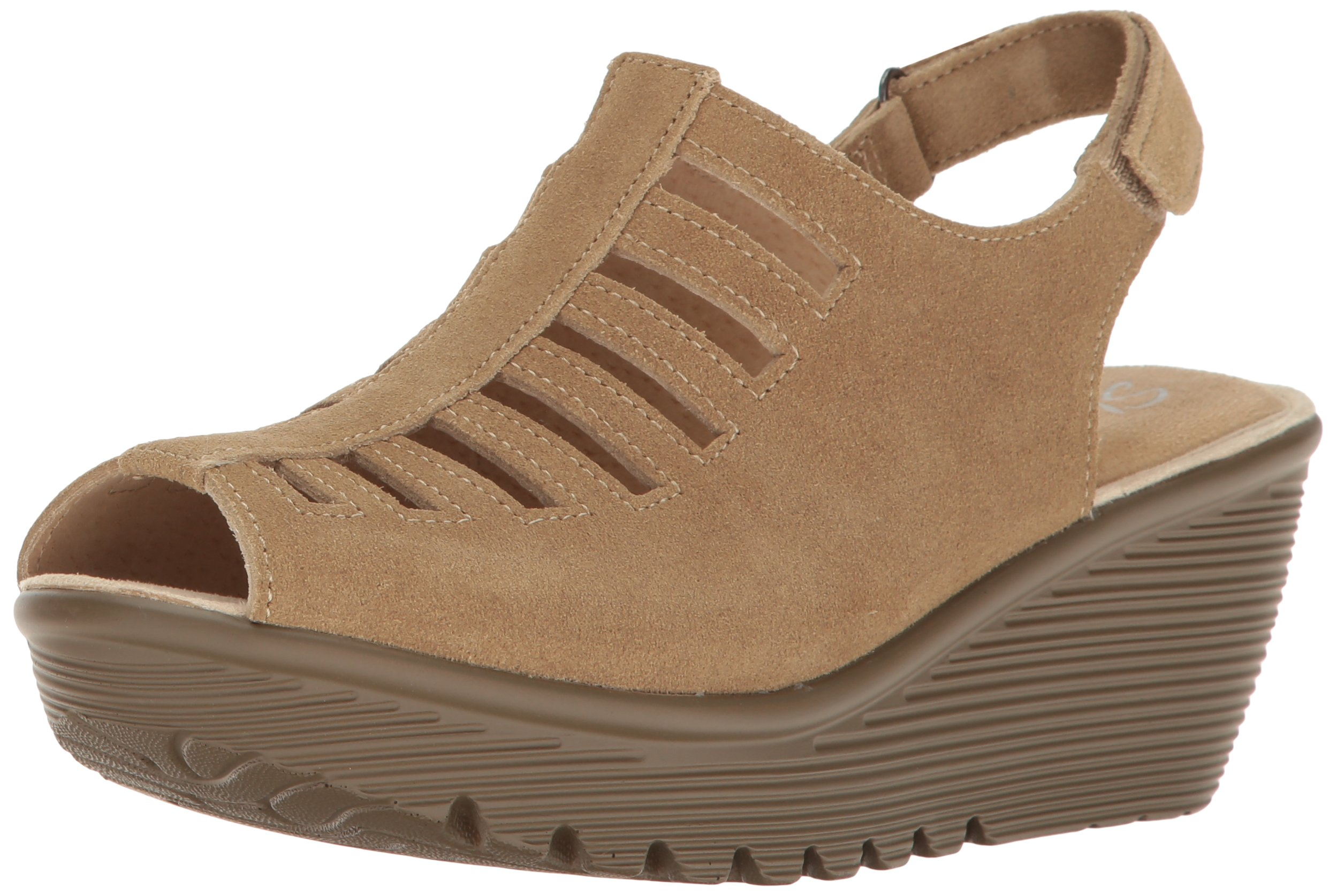 Skechers Women's Parallel-Trapezoid Wedge Sandal,Dark Natural,6 M US