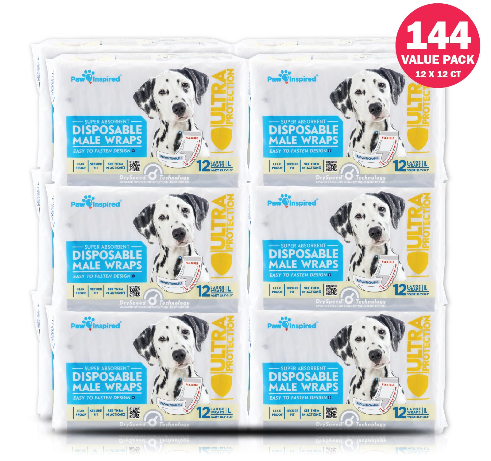 Paw Inspired 144 Piece Ultra Protection Disposable Male Wraps, Belly Bands Bulk, Large
