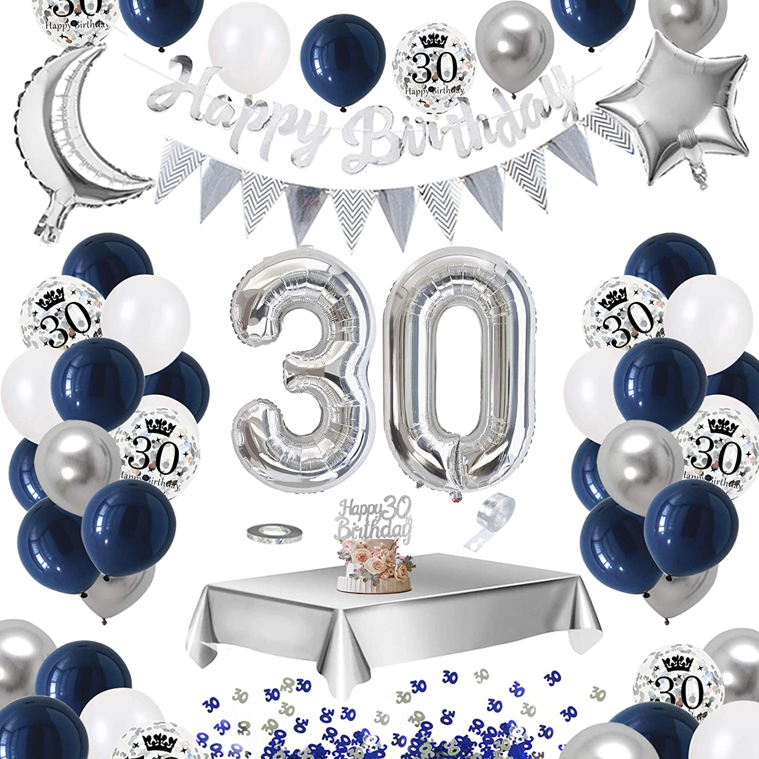 Aperil 30th Birthday Decorations For Men Navy Blue White Balloons Printed Silver Confetti Balloons Metallic Silver Balloons Foil Tablecloth 30 Table Confetti Happy Birthday Banner Cake Topper Amazon Co Uk Kitchen Home
