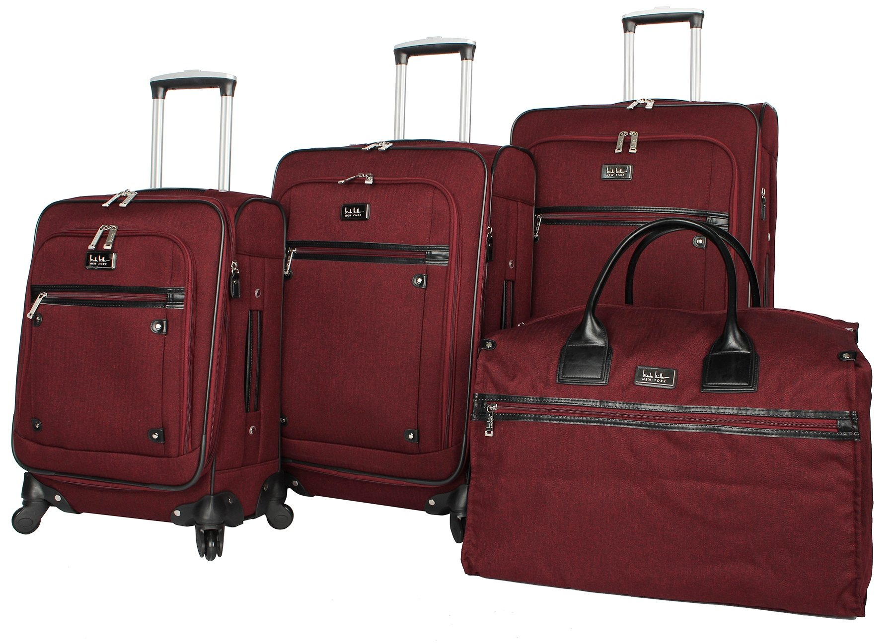 Nicole Miller New York Taylor Set of 4: Box Bag, 20'', 24'', 28'' Expandable Spinner Luggages (Burgundy)