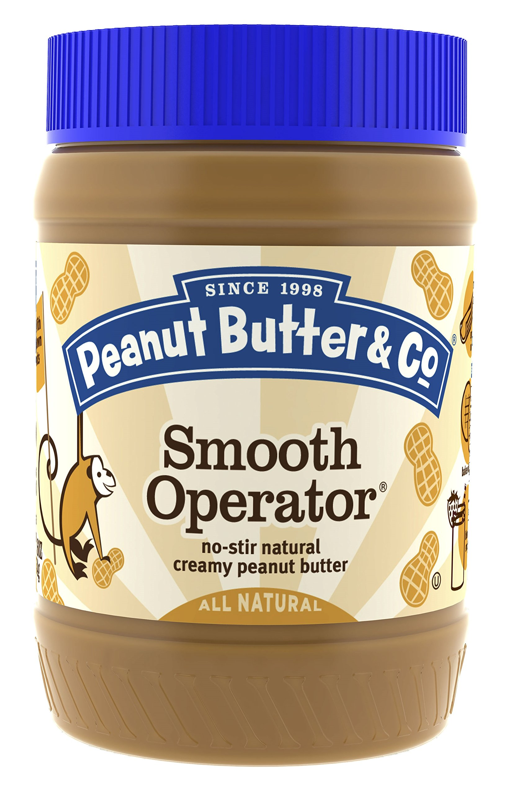 Peanut Butter & Co. Non-GMO, Gluten Free, Vegan Peanut Butter, Smooth Operator, 16 Ounce Jars (Pack of 6)