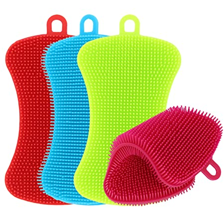 TIMGOU Küche Silikon Schwamm, 4 Stück Antibakteriell Reinigung Scrubber Topflappen Mehrzweck Geschirrspülers Schimmelfrei Bür