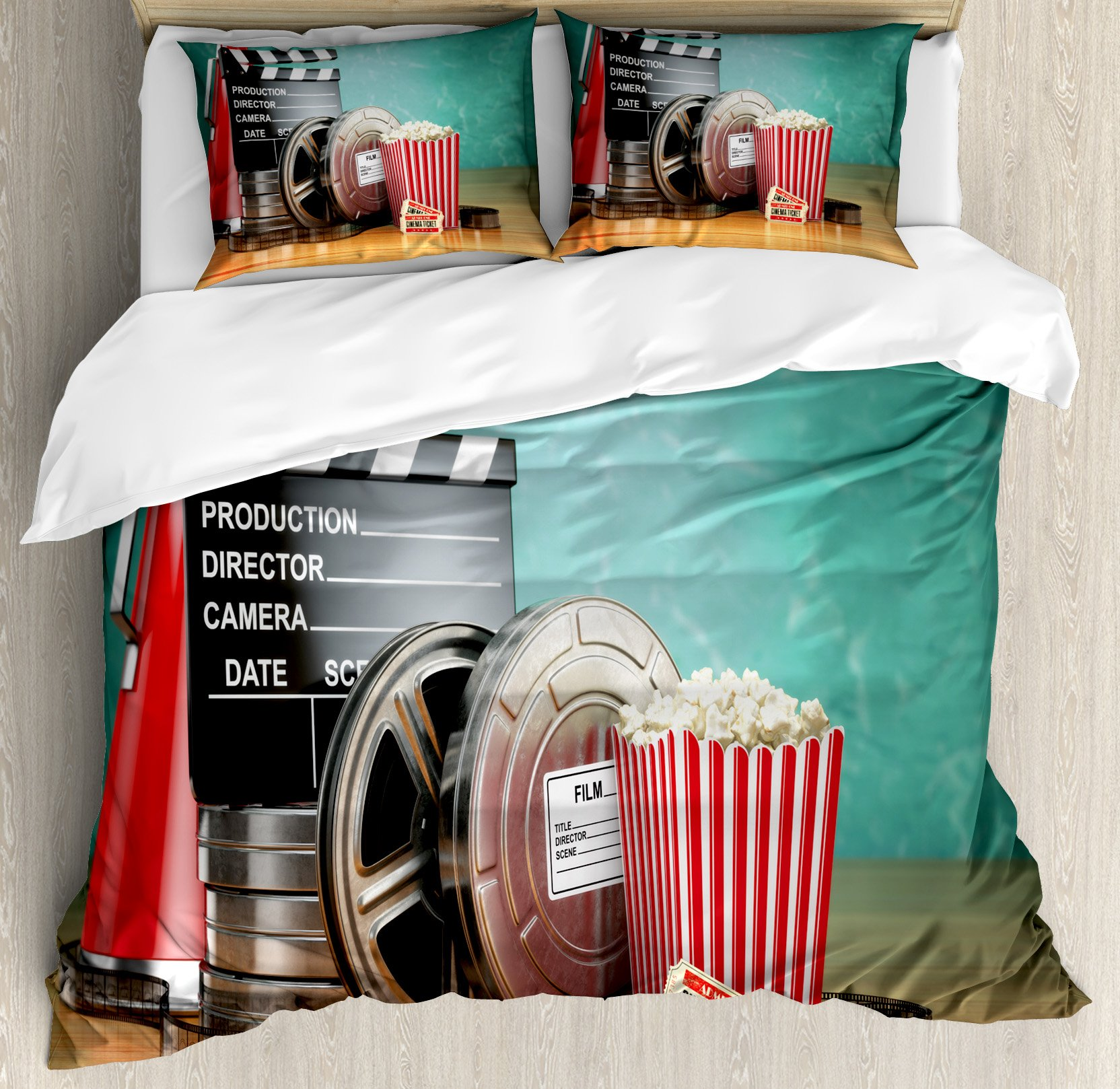 Ambesonne Movie Theater King Size Duvet Cover Set, Production Theme 3D Film Reels Clapperboard Tickets Popcorn and Megaphone, Decorative 3 Piece Bedding Set with 2 Pillow Shams, Multicolor