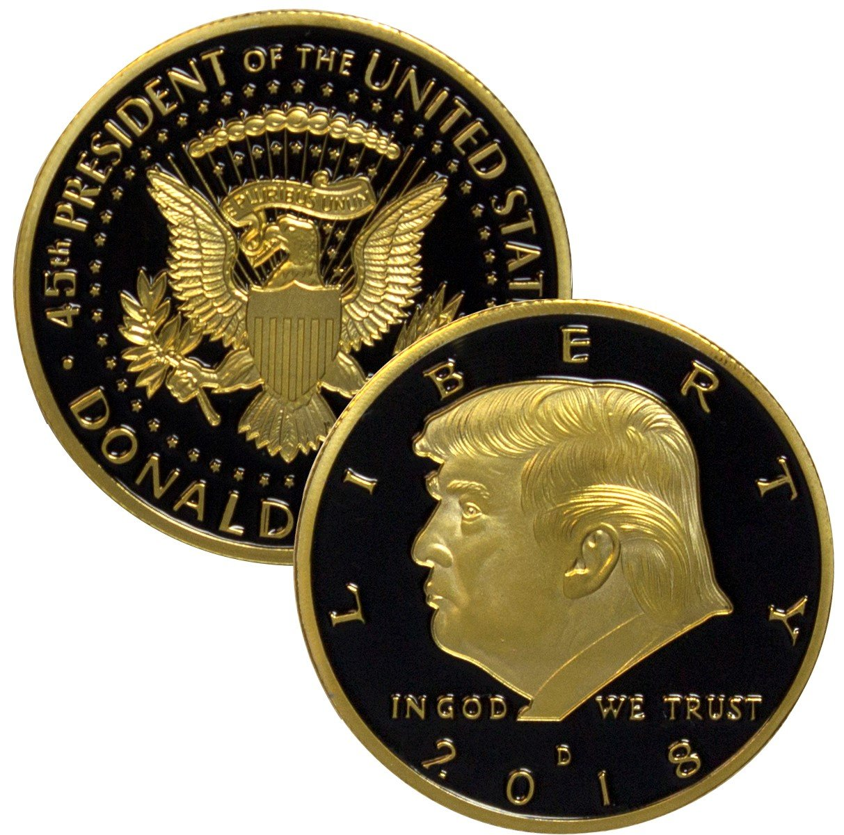 2018 Donald Trump Black & Gold EAGLE Commemorative 24kt Gold Plated Collectible Coin 38mm. 45th President of the United States of America CERTIFICATE OF AUTHENTICITY Aizics Mint Original Design