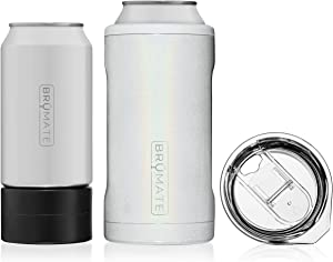 BrüMate HOPSULATOR TRíO 3-in-1 Stainless Steel Insulated Can Cooler, Works With 12 Oz, 16 Oz Cans And As A Pint Glass (Glitter White)