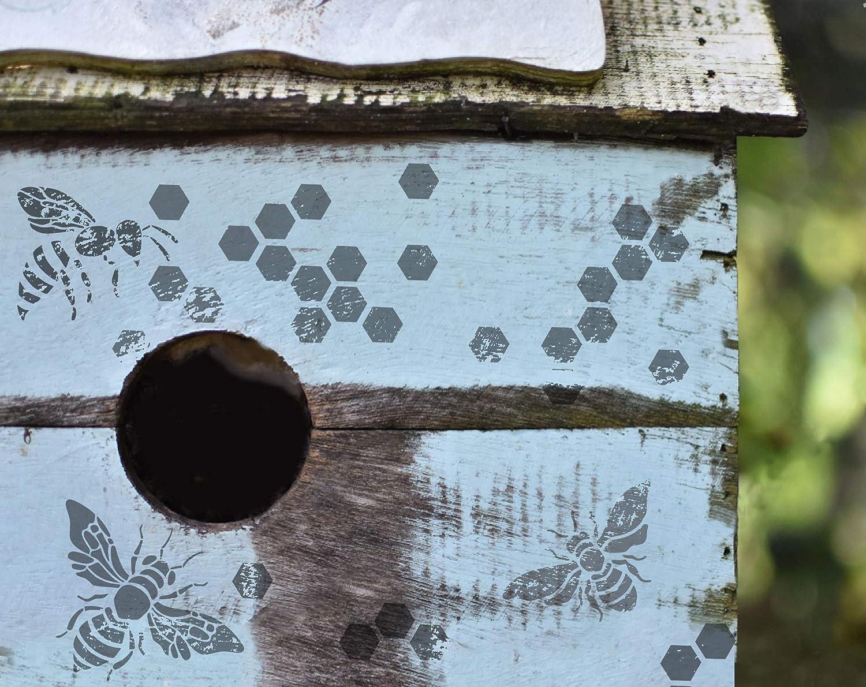 tela dise/ño de panal de miel madera pared SL-083 12 x 12 pulgadas Plantilla de abeja de abeja reutilizable para pintar colmena GSS Designs muebles