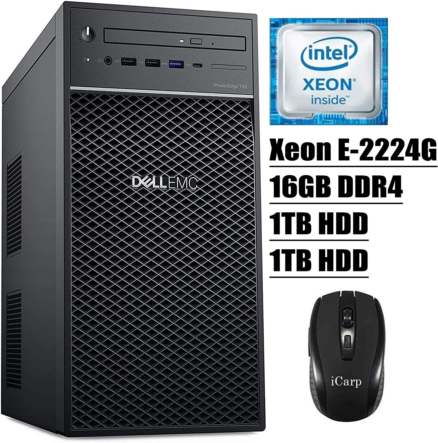 2020 Newest Dell PowerEdge T40 Tower Server Premium Desktop Tower Intel Quad-Core Xeon E-2224G 16GB DDR4 1TB HDD 1TB HDD DVD USB-C Intel UHD Graphics P630 No Operating System + iCarp Wireless Mouse