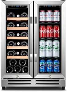 Wine and Beverage Refrigerator, Karcassin 24 inch 2-IN-1 Wine Beer fridge Dual Zone with 2 Independent Cooling Systems