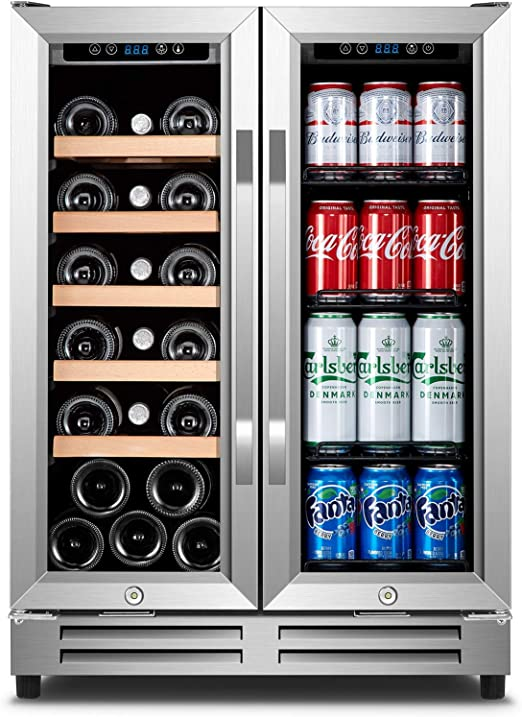 Wine And Beverage Refrigerator Karcassin 24 Inch 2 In 1 Wine Beer Fridge Dual Zone With 2 Independent Cooling Systems Appliances