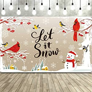 Winter Christmas Party Decorations Banner Red Cardinal Bird Backdrop Let It Snow Theme Photo Booth Background Seasonal Home Decor for Winter Baby Shower Birthday Party Supplies, 73 x 43 Inch