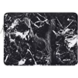 MOSISO Laptop Sleeve Bag Compatible with 13-13.3 inch MacBook Pro, MacBook Air, Notebook Computer, Vertical Style Water Repellent Polyester Protective Case Cover with Pocket, Black Marble