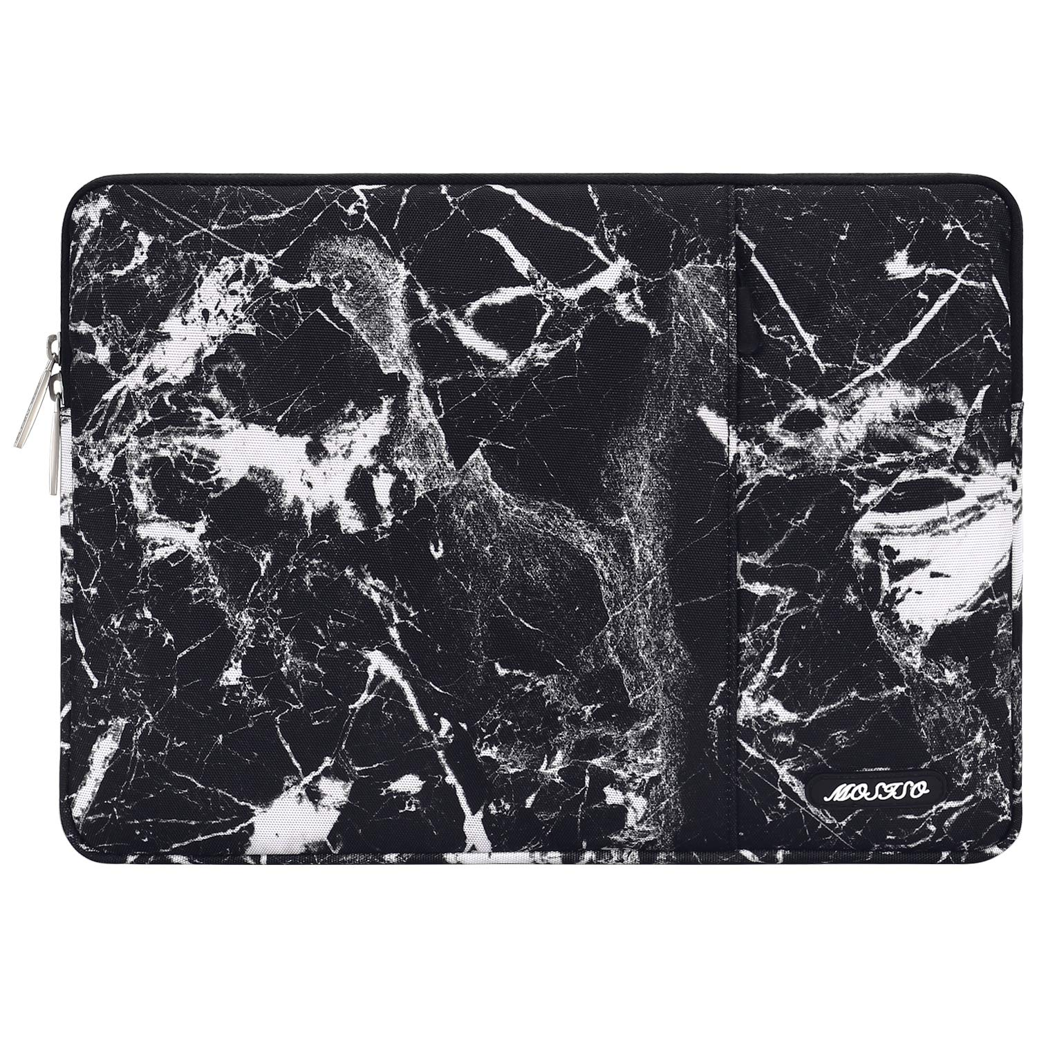 MOSISO Laptop Sleeve Bag Compatible 13-13.3 Inch MacBook Pro, MacBook Air, Notebook Computer, Vertical Style Water Repellent Polyester Protective Case Cover with Pocket, Black Marble