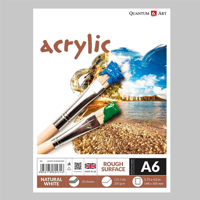 A6pour surface rugueuse Acrylique Dessin Artiste papier gommé livre–200g/m² Quantum Art