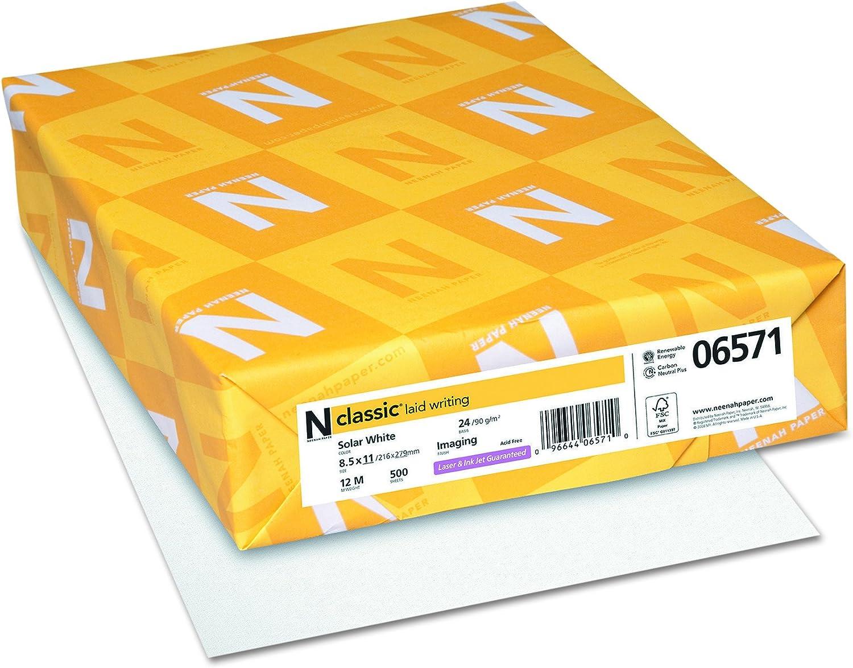 "Classic Laid Paper, 8.5"" x 11"", 24 lb, Solar White, 97 Brightness, 500 Sheets (06571)"