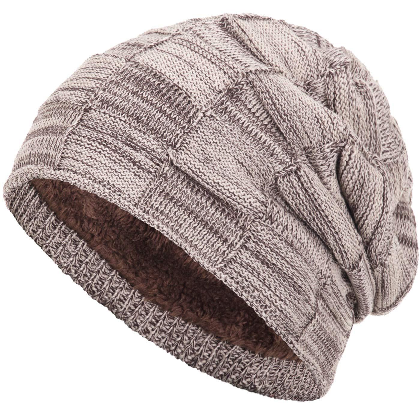Compagno warm gefütterte Beanie Wintermütze Flechtmuster unifarben oder meliert mit weichem Fleece-Futter Mütze Farbe:Braun