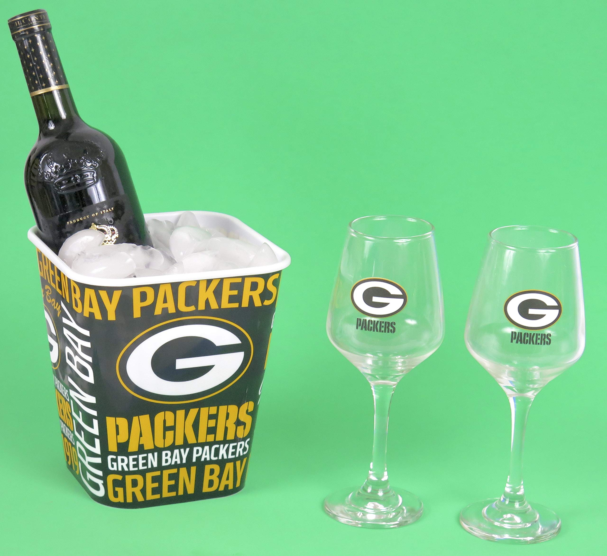 Green Bay Packers Wine Glasses with a snack bucket, ice Bucket.