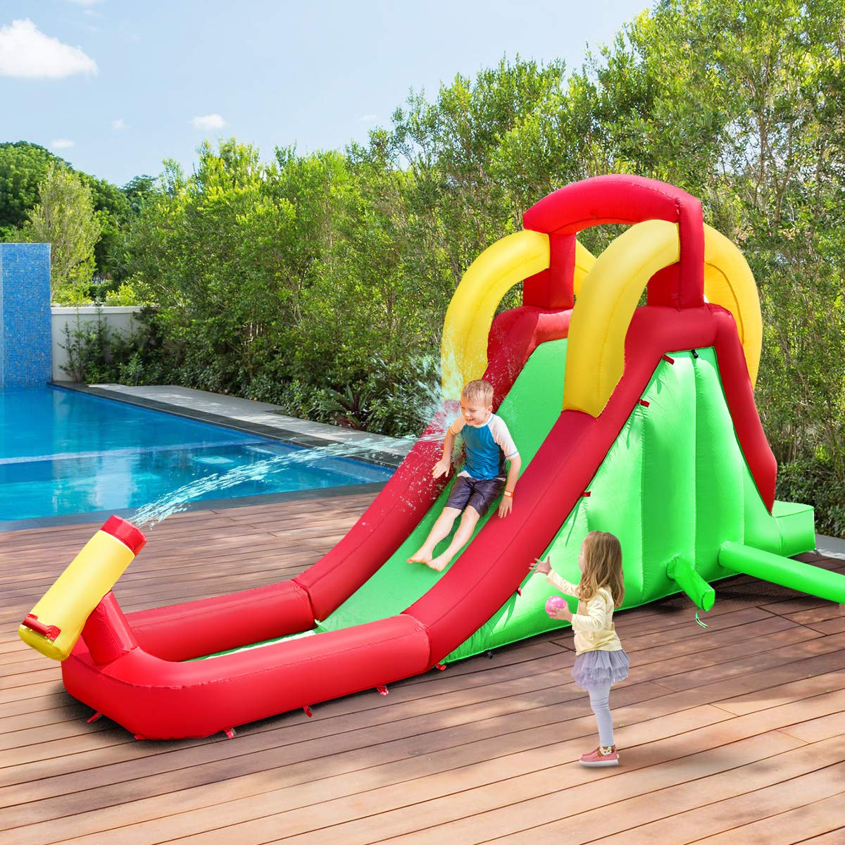Costzon Inflatable Water Slide, Climb and Slide Bouncer for Kids Without Blower by Costzon (Image #3)