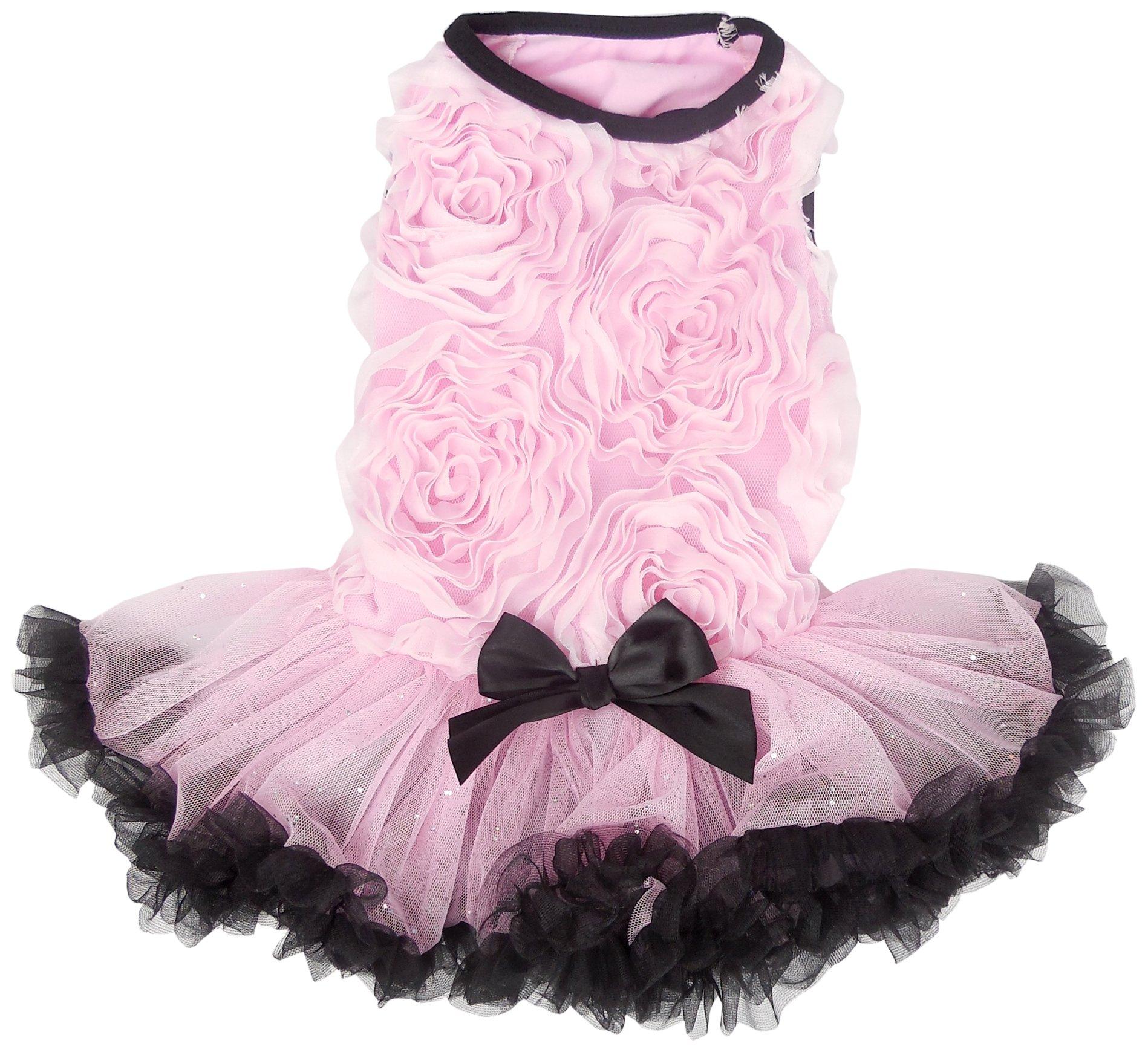 PAWPATU Soutache Ruffle Dress for Dogs, Small, Pink/Black