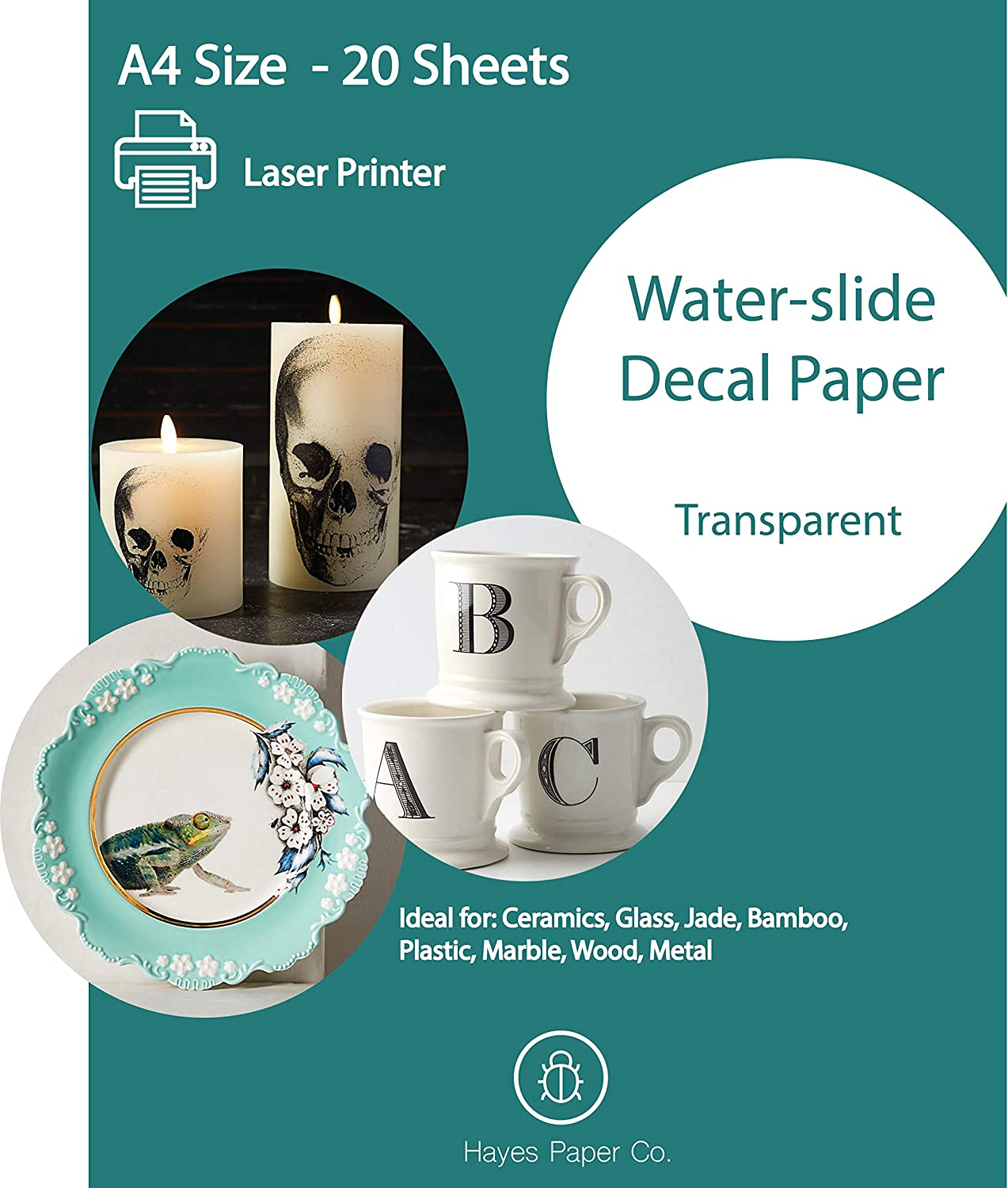 Hayes Paper, Waterslide Decal Paper LASER CLEAR 20 Sheets Premium Water-Slide Transfer Transparent Printable Water Slide Decals A4 Size