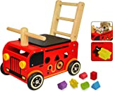 I'mToy Walk & Ride Fire Engine push wagon