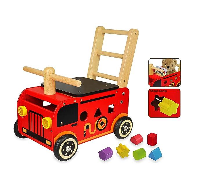 I M TOY Correpasillos Andador de madera El Camión de bomberos ...