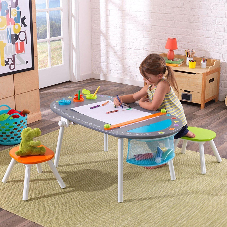 KidKraft langlebiges Holz- und Metall Möbel-Set bestehend aus Kreidetafel, Tisch und Stühlen, für Kinder ab 3Jahren Tisch und Stühlen KídKraft