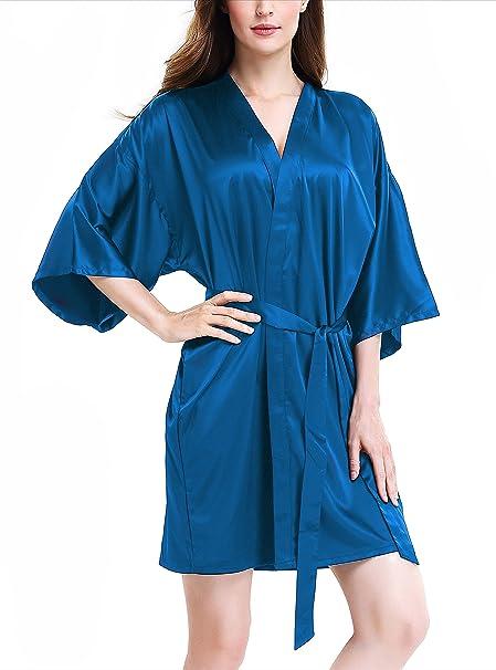 Genuwin Mujer Pijama Kimono Bata corto, Satén Seda de Manga 3/4 de Aspecto