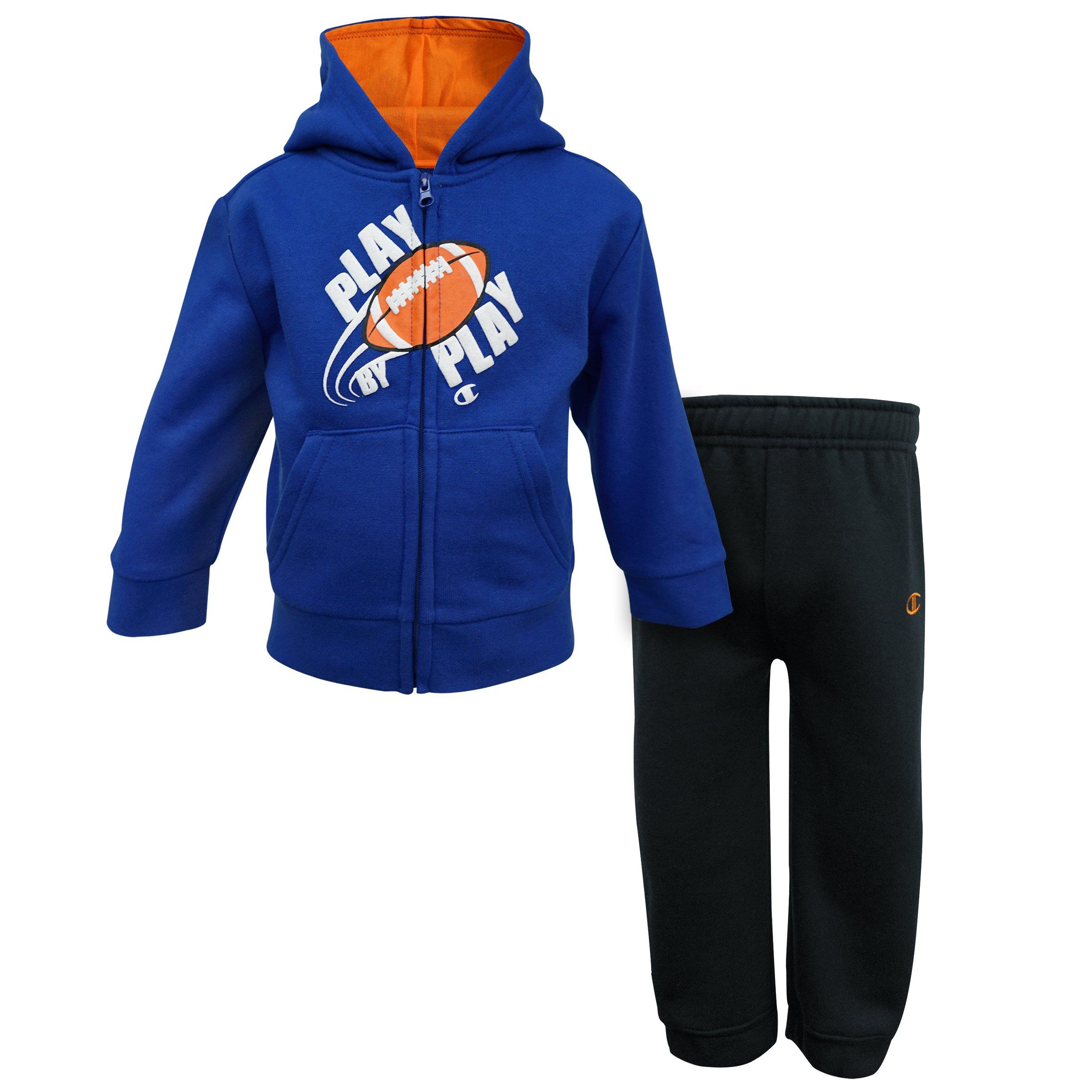 Champion Baby Boys Hooded Fleece Sets (12M, Football Blue/Black) by Champion