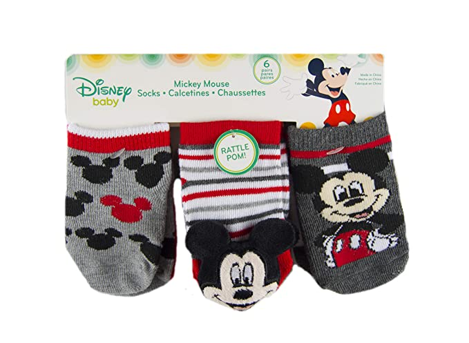 Mickey Mouse Baby Boys 6 Pack Rattle Low Cut Socks, Multi, 6-12