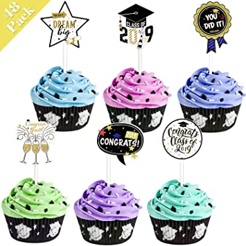 Graduation Cupcake Toppers Graduation Party Decorations Cake Toppers 48 Pack Food Appetizer Picks